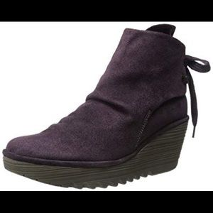 Fly London Yama Oiled Suede Tie Back Ankle Boots